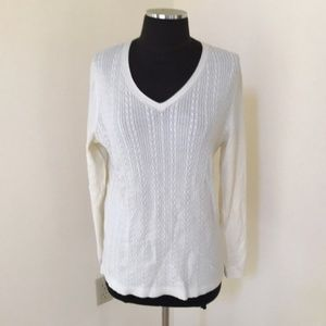 NWT! Talbots Size L ivory V-Neck Cotton Sweater